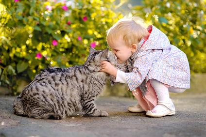 Baby, Kind und Katze
